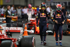 ABU DHABI, UNITED ARAB EMIRATES - NOVEMBER 26: Brendon Hartley of New Zealand and Scuderia Toro Rosso and Pierre Gasly of France and Scuderia Toro Rosso walk in parc ferme during the Abu Dhabi Formula One Grand Prix at Yas Marina Circuit on November 26, 2017 in Abu Dhabi, United Arab Emirates. (Photo by Dan Istitene/Getty Images) // Getty Images / Red Bull Content Pool // P-20171126-00689 // Usage for editorial use only // Please go to www.redbullcontentpool.com for further information. //
