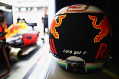 SPIELBERG, AUSTRIA - JULY 08: (EDITORS NOTE: Image was created using a variable planed lens.) The helmet of Daniel Ricciardo of Australia and Red Bull Racing in the Red Bull Racing garage during qualifying for the Formula One Grand Prix of Austria at Red Bull Ring on July 8, 2017 in Spielberg, Austria. (Photo by Mark Thompson/Getty Images) // Getty Images / Red Bull Content Pool // P-20170708-02565 // Usage for editorial use only // Please go to www.redbullcontentpool.com for further information. //