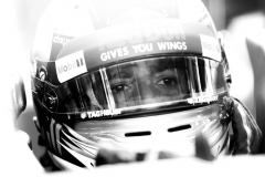 SAO PAULO, BRAZIL - NOVEMBER 11: (EDITORS NOTE: Image has been converted to black and white.) Daniel Ricciardo of Australia and Red Bull Racing prepares to drive in the garage during final practice for the Formula One Grand Prix of Brazil at Autodromo Jose Carlos Pace on November 11, 2017 in Sao Paulo, Brazil. (Photo by Dan Istitene/Getty Images) // Getty Images / Red Bull Content Pool // P-20171111-00687 // Usage for editorial use only // Please go to www.redbullcontentpool.com for further information. //