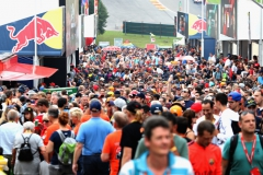 SPA, BELGIUM - AUGUST 26: Fans enjoy the atmosphere during qualifying for the Formula One Grand Prix of Belgium at Circuit de Spa-Francorchamps on August 26, 2017 in Spa, Belgium. (Photo by Mark Thompson/Getty Images) // Getty Images / Red Bull Content Pool // P-20170826-01484 // Usage for editorial use only // Please go to www.redbullcontentpool.com for further information. //