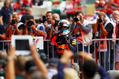 SPA, BELGIUM - AUGUST 27: Daniel Ricciardo of Australia and Red Bull Racing celebrates finishing in third place in parc ferme during the Formula One Grand Prix of Belgium at Circuit de Spa-Francorchamps on August 27, 2017 in Spa, Belgium. (Photo by Dan Istitene/Getty Images) // Getty Images / Red Bull Content Pool // P-20170827-10081 // Usage for editorial use only // Please go to www.redbullcontentpool.com for further information. //