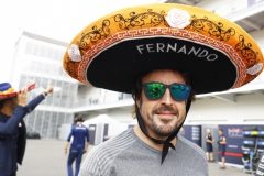 Autodromo Hermanos Rodriguez, Mexico City, Mexico.Sunday 29 October 2017.Fernando Alonso, McLaren, wears a Sombrero.Photo: Steven Tee/McLarenref: Digital Image _O3I9425
