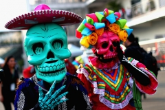 MEXICO CITY, MEXICO - OCTOBER 26: Day of the Dead dancers entertain in the Paddock during previews to the Formula One Grand Prix of Mexico at Autodromo Hermanos Rodriguez on October 26, 2017 in Mexico City, Mexico. (Photo by Clive Rose/Getty Images) // Getty Images / Red Bull Content Pool // P-20171027-01226 // Usage for editorial use only // Please go to www.redbullcontentpool.com for further information. //