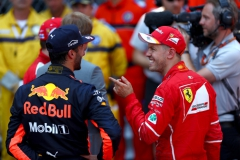 MONTE-CARLO, MONACO - MAY 28: Sebastian Vettel of Germany and Ferrari talks with Daniel Ricciardo of Australia and Red Bull Racing during the Monaco Formula One Grand Prix at Circuit de Monaco on May 28, 2017 in Monte-Carlo, Monaco. (Photo by Dan Istitene/Getty Images) // Getty Images / Red Bull Content Pool // P-20170528-00702 // Usage for editorial use only // Please go to www.redbullcontentpool.com for further information. //