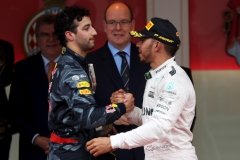 MONTE-CARLO, MONACO - MAY 29: Daniel Ricciardo of Australia and Red Bull Racing congratulates Lewis Hamilton of Great Britain and Mercedes GP on the podium during the Monaco Formula One Grand Prix at Circuit de Monaco on May 29, 2016 in Monte-Carlo, Monaco. (Photo by Lars Baron/Getty Images) // Getty Images / Red Bull Content Pool // P-20160529-01442 // Usage for editorial use only // Please go to www.redbullcontentpool.com for further information. //