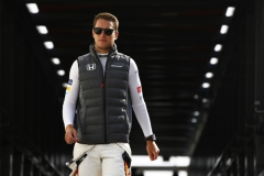 Monte Carlo, Monaco.Thursday 25 May 2017.Stoffel Vandoorne, McLaren, arrives in the pits.World Copyright: Andy Hone/LAT Imagesref: Digital Image _ONZ8387