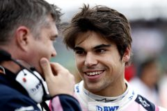 Lance Stroll, Racing Point speaks to an enginer before the race