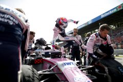 Sergio Perez, Racing Point RP19 gets out of his car on the grid