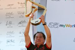 SPIELBERG, AUSTRIA - JUNE 30: Toyoharu Tanabe of Honda celebrates the race win of Max Verstappen of Netherlands and Red Bull Racing on the podium during the F1 Grand Prix of Austria at Red Bull Ring on June 30, 2019 in Spielberg, Austria. (Photo by Mark Thompson/Getty Images) // Getty Images / Red Bull Content Pool  // AP-1ZTAAMZF92111 // Usage for editorial use only // Please go to www.redbullcontentpool.com for further information. //