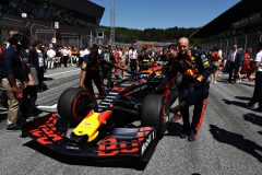 SPIELBERG, AUSTRIA - JUNE 30: Pierre Gasly of France driving the (10) Aston Martin Red Bull Racing RB15 is pushed onto the grid before the F1 Grand Prix of Austria at Red Bull Ring on June 30, 2019 in Spielberg, Austria. (Photo by Mark Thompson/Getty Images) // Getty Images / Red Bull Content Pool  // AP-1ZTB3BQTD1W11 // Usage for editorial use only // Please go to www.redbullcontentpool.com for further information. //