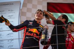 SPIELBERG, AUSTRIA - JUNE 30: Race winner Max Verstappen of Netherlands and Red Bull Racing celebrates on the podium with Toyoharu Tanabe of Honda during the F1 Grand Prix of Austria at Red Bull Ring on June 30, 2019 in Spielberg, Austria. (Photo by Lars Baron/Getty Images) // Getty Images / Red Bull Content Pool  // AP-1ZT9SP6G91W11 // Usage for editorial use only // Please go to www.redbullcontentpool.com for further information. //