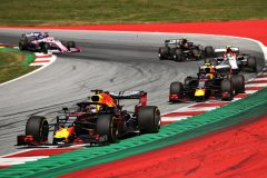 SPIELBERG, AUSTRIA - JUNE 30: Max Verstappen of the Netherlands driving the (33) Aston Martin Red Bull Racing RB15 leads Pierre Gasly of France driving the (10) Aston Martin Red Bull Racing RB15 on track during the F1 Grand Prix of Austria at Red Bull Ring on June 30, 2019 in Spielberg, Austria. (Photo by Bryn Lennon/Getty Images) // Getty Images / Red Bull Content Pool  // AP-1ZT92AND52111 // Usage for editorial use only // Please go to www.redbullcontentpool.com for further information. //