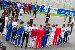 SPA, BELGIUM - SEPTEMBER 01: Daniil Kvyat of Scuderia Toro Rosso and Russia and Pierre Gasly of Scuderia Toro Rosso and France during the minute silence for French driver Anthoine Hubert who passed away during the F2 race yesterday during the F1 Grand Prix of Belgium at Circuit de Spa-Francorchamps on September 01, 2019 in Spa, Belgium. (Photo by Peter Fox/Getty Images) // Getty Images / Red Bull Content Pool  // AP-21EJVPSC12111 // Usage for editorial use only //
