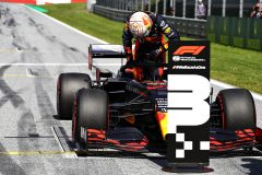 SPIELBERG, AUSTRIA - JULY 04: Third placed qualifier Max Verstappen of Netherlands and Red Bull Racing celebrates in parc ferin parc fermeduring qualifying for the Formula One Grand Prix of Austria at Red Bull Ring on July 04, 2020 in Spielberg, Austria. (Photo by Mark Thompson/Getty Images) // Getty Images / Red Bull Content Pool  // AP-24HDPSU6S1W11 // Usage for editorial use only //