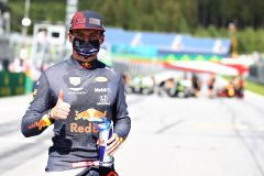 SPIELBERG, AUSTRIA - JULY 04: Third placed qualifier Max Verstappen of Netherlands and Red Bull Racing celebrates in parc ferin parc fermeduring qualifying for the Formula One Grand Prix of Austria at Red Bull Ring on July 04, 2020 in Spielberg, Austria. (Photo by Mark Thompson/Getty Images) // Getty Images / Red Bull Content Pool  // AP-24HDPSFTN1W11 // Usage for editorial use only //