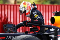 BARCELONA, SPAIN - AUGUST 16: Second placed Max Verstappen of Netherlands and Red Bull Racing climbs from his car in parc ferme during the F1 Grand Prix of Spain at Circuit de Barcelona-Catalunya on August 16, 2020 in Barcelona, Spain. (Photo by Mark Thompson/Getty Images) // Getty Images / Red Bull Content Pool  // SI202008160388 // Usage for editorial use only //