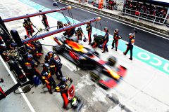 BUDAPEST, HUNGARY - JULY 19: Max Verstappen of the Netherlands driving the (33) Aston Martin Red Bull Racing RB16 makes a pitstop for new tyres during the Formula One Grand Prix of Hungary at Hungaroring on July 19, 2020 in Budapest, Hungary. (Photo by Getty Images/Getty Images) // Getty Images / Red Bull Content Pool  // AP-24P6UKS4D2111 // Usage for editorial use only //