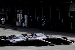 Baku City Circuit, Baku, Azerbaijan.Sunday 29 April 2018.Lance Stroll, Williams FW41 Mercedes, leads Sergey Sirotkin, Williams FW41 Mercedes.Photo: Glenn Dunbar/Williams F1ref: Digital Image _X4I1607