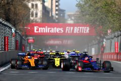 BAKU, AZERBAIJAN - APRIL 28: Daniil Kvyat driving the (26) Scuderia Toro Rosso STR14 Honda leads Carlos Sainz of Spain driving the (55) McLaren F1 Team MCL34 Renault on track during the F1 Grand Prix of Azerbaijan at Baku City Circuit on April 28, 2019 in Baku, Azerbaijan. (Photo by Dan Istitene/Getty Images) // Getty Images / Red Bull Content Pool  // AP-1Z5YV41W52511 // Usage for editorial use only // Please go to www.redbullcontentpool.com for further information. //