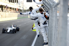 Baku City Circuit, Baku, Azerbaijan.Sunday 25 June 2017.The team cheer Lance Stroll, Williams FW40 Mercedes, 3rd Position, over the finish line.Photo: Steven Tee/Williamsref: Digital Image _R3I3947