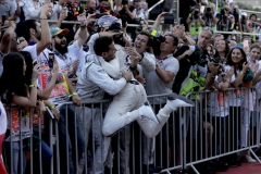 Baku City Circuit, Baku, Azerbaijan.Sunday 25 June 2017.Lance Stroll, Williams Martini Racing, 3rd Position, celebrates with the team in Parc Ferme.Photo: Zak Mauger/Williamsref: Digital Image _56I9321