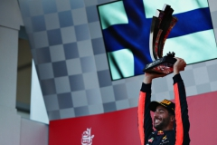 BAKU, AZERBAIJAN - JUNE 25: Race winner Daniel Ricciardo of Australia and Red Bull Racing celebrates his win on the podium during the Azerbaijan Formula One Grand Prix at Baku City Circuit on June 25, 2017 in Baku, Azerbaijan. (Photo by Dan Istitene/Getty Images) // Getty Images / Red Bull Content Pool // P-20170625-00819 // Usage for editorial use only // Please go to www.redbullcontentpool.com for further information. //