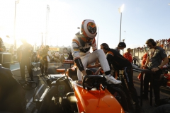 Yas Marina Circuit, Abu Dhabi, United Arab Emirates.Sunday 26 November 2017.Stoffel Vandoorne, McLaren, arrives on the grid.Photo: Steven Tee/McLarenref: Digital Image _R3I4752