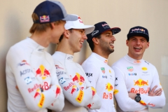 ABU DHABI, UNITED ARAB EMIRATES - NOVEMBER 26: The Red Bull Racing and Scuderia Toro Rosso drivers for 2018, Brendon Hartley of New Zealand and Scuderia Toro Rosso, Daniel Ricciardo of Australia and Red Bull Racing, Pierre Gasly of France and Scuderia Toro Rosso and Max Verstappen of Netherlands and Red Bull Racing before the Abu Dhabi Formula One Grand Prix at Yas Marina Circuit on November 26, 2017 in Abu Dhabi, United Arab Emirates. (Photo by Dan Istitene/Getty Images) // Getty Images / Red Bull Content Pool // P-20171126-00827 // Usage for editorial use only // Please go to www.redbullcontentpool.com for further information. //
