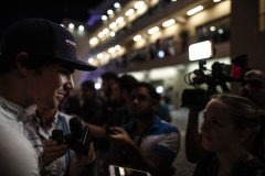Yas Marina Circuit, Abu Dhabi, United Arab Emirates.Friday 24 November 2017.Lance Stroll, Williams Martini Racing, talks to the media.Photo: Glenn Dunbar/Williamsref: Digital Image _31I6517