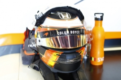 Yas Marina Circuit, Abu Dhabi, United Arab Emirates.Friday 24 November 2017.Helmet belonging to Stoffel Vandoorne, McLaren.Photo: Steven Tee/McLarenref: Digital Image _R3I1343