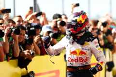 AUSTIN, TX - OCTOBER 21:  Max Verstappen of Netherlands and Red Bull Racing celebrates finishing second after the United States Formula One Grand Prix at Circuit of The Americas on October 21, 2018 in Austin, United States.  (Photo by Dan Istitene/Getty Images) // Getty Images / Red Bull Content Pool  // AP-1X98K7YH11W11 // Usage for editorial use only // Please go to www.redbullcontentpool.com for further information. //