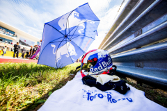 AUSTIN, TX - OCTOBER 21: The crash helmet of Pierre Gasly of Scuderia Toro Rosso and France during the United States Formula One Grand Prix at Circuit of The Americas on October 21, 2018 in Austin, United States.  (Photo by Peter Fox/Getty Images) // Getty Images / Red Bull Content Pool  // AP-1X98WSZAW1W11 // Usage for editorial use only // Please go to www.redbullcontentpool.com for further information. //
