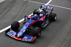 NORTHAMPTON, ENGLAND - JULY 12: Alexander Albon of Thailand driving the (23) Scuderia Toro Rosso STR14 Honda on track during practice for the F1 Grand Prix of Great Britain at Silverstone on July 12, 2019 in Northampton, England. (Photo by Mark Thompson/Getty Images) // Getty Images / Red Bull Content Pool  // AP-1ZX5BC9592111 // Usage for editorial use only // Please go to www.redbullcontentpool.com for further information. //