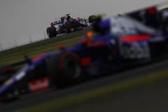 NORTHAMPTON, ENGLAND - JULY 15: Daniil Kvyat of Russia driving the (26) Scuderia Toro Rosso STR12 follows Carlos Sainz of Spain driving the (55) Scuderia Toro Rosso STR12 on track during qualifying for the Formula One Grand Prix of Great Britain at Silverstone on July 15, 2017 in Northampton, England. (Photo by Clive Mason/Getty Images) // Getty Images / Red Bull Content Pool // P-20170715-00555 // Usage for editorial use only // Please go to www.redbullcontentpool.com for further information. //