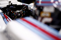 Silverstone, Northamptonshire, UK.Saturday 15 July 2017.The steering wheel in the car of Lance Stroll, Williams FW40 Mercedes.Photo: Glenn Dunbar/Williamsref: Digital Image _31I4918
