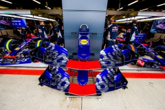 NORTHAMPTON, ENGLAND - JULY 15: Scuderia Toro Rosso garage during qualifying for the Formula One Grand Prix of Great Britain at Silverstone on July 15, 2017 in Northampton, England. (Photo by Peter Fox/Getty Images) // Getty Images / Red Bull Content Pool // P-20170715-00684 // Usage for editorial use only // Please go to www.redbullcontentpool.com for further information. //