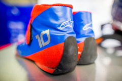 MONZA, ITALY - AUGUST 30:  Racing boots belonging to Pierre Gasly of Scuderia Toro Rosso and France during previews ahead of the Formula One Grand Prix of Italy at Autodromo di Monza on August 30, 2018 in Monza, Italy.  (Photo by Peter Fox/Getty Images) // Getty Images / Red Bull Content Pool  // AP-1WS3D6YZ11W11 // Usage for editorial use only // Please go to www.redbullcontentpool.com for further information. //