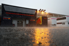 MONZA, ITALY - AUGUST 31:  Red Bull Racing paddock buildings are seen surrounded by rain before practice for the Formula One Grand Prix of Italy at Autodromo di Monza on August 31, 2018 in Monza, Italy.  (Photo by Dan Istitene/Getty Images) // Getty Images / Red Bull Content Pool  // AP-1WRP69EBN1W11 // Usage for editorial use only // Please go to www.redbullcontentpool.com for further information. //