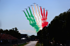 MONZA, ITALY - SEPTEMBER 03: The Italian Airforce perform a fly past before the Formula One Grand Prix of Italy at Autodromo di Monza on September 3, 2017 in Monza, Italy. Scuderia Toro Rosso (Photo by Dan Istitene/Getty Images) // Getty Images / Red Bull Content Pool // P-20170903-20577 // Usage for editorial use only // Please go to www.redbullcontentpool.com for further information. //