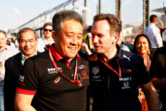 MELBOURNE, AUSTRALIA - MARCH 17:  Honda Motorsports General Manager Masashi Yamamoto and Red Bull Racing Team Principal Christian Horner celebrate after the F1 Grand Prix of Australia at Melbourne Grand Prix Circuit on March 17, 2019 in Melbourne, Australia.  (Photo by Will Taylor-Medhurst/Getty Images) // Getty Images / Red Bull Content Pool  // AP-1YRE2V6UW1W11 // Usage for editorial use only // Please go to www.redbullcontentpool.com for further information. //