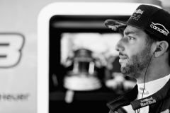 SPIELBERG, AUSTRIA - JULY 07: (EDITORS NOTE: Image has been converted to black and white.) Daniel Ricciardo of Australia and Red Bull Racing prepares to drive during practice for the Formula One Grand Prix of Austria at Red Bull Ring on July 7, 2017 in Spielberg, Austria. (Photo by Mark Thompson/Getty Images) // Getty Images / Red Bull Content Pool // P-20170707-02198 // Usage for editorial use only // Please go to www.redbullcontentpool.com for further information. //