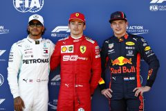 SPIELBERG, AUSTRIA - JUNE 29: Top three qualifiers Charles Leclerc of Monaco and Ferrari, Lewis Hamilton of Great Britain and Mercedes GP and Max Verstappen of Netherlands and Red Bull Racing celebrate in parc ferme during qualifying for the F1 Grand Prix of Austria at Red Bull Ring on June 29, 2019 in Spielberg, Austria. (Photo by Will Taylor-Medhurst/Getty Images) // Getty Images / Red Bull Content Pool  // AP-1ZSY6WY2N1W11 // Usage for editorial use only // Please go to www.redbullcontentpool.com for further information. //