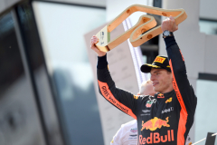 SPIELBERG, AUSTRIA - JULY 01:  Race winner Max Verstappen of Netherlands and Red Bull Racing celebrates on the podium during the Formula One Grand Prix of Austria at Red Bull Ring on July 1, 2018 in Spielberg, Austria.  (Photo by Patrik Lundin/Getty Images) // Getty Images / Red Bull Content Pool  // AP-1W54R2DQ92111 // Usage for editorial use only // Please go to www.redbullcontentpool.com for further information. //