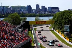 MONTREAL, QC - JUNE 09:  Max Verstappen of the Netherlands driving the (33) Aston Martin Red Bull Racing RB15 leads Daniil Kvyat of Russia and Scuderia Toro Rosso and Alexander Albon of Thailand and Scuderia Toro Rosso during the F1 Grand Prix of Canada at Circuit Gilles Villeneuve on June 9, 2019 in Montreal, Canada.  (Photo by Dan Istitene/Getty Images) // Getty Images / Red Bull Content Pool  // AP-1ZKMEMEND1W11 // Usage for editorial use only // Please go to www.redbullcontentpool.com for further information. //