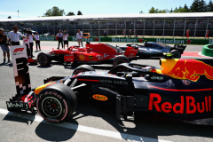 MONTREAL, QC - JUNE 09: Top three qualifiers Sebastian Vettel of Germany and Ferrari, Valtteri Bottas of Finland and Mercedes GP and Max Verstappen of Netherlands and Red Bull Racing stop their cars in parc ferme during qualifying for the Canadian Formula One Grand Prix at Circuit Gilles Villeneuve on June 9, 2018 in Montreal, Canada.  (Photo by Dan Istitene/Getty Images) // Getty Images / Red Bull Content Pool  // AP-1VX3Z5KG11W11 // Usage for editorial use only // Please go to www.redbullcontentpool.com for further information. //
