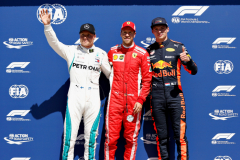 MONTREAL, QC - JUNE 09:  Top three qualifiers Sebastian Vettel of Germany and Ferrari, vValtteri Bottas of Finland and Mercedes GP nd Max Verstappen of Netherlands and Red Bull Racing pose for a photo in parc ferme during qualifying for the Canadian Formula One Grand Prix at Circuit Gilles Villeneuve on June 9, 2018 in Montreal, Canada.  (Photo by Will Taylor-Medhurst/Getty Images) // Getty Images / Red Bull Content Pool  // AP-1VX3WCBKH1W11 // Usage for editorial use only // Please go to www.redbullcontentpool.com for further information. //