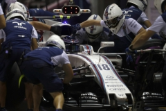 Marina Bay Circuit, Marina Bay, Singapore.Saturday 16 September 2017.Lance Stroll, Williams FW40 Mercedes, makes a pit stop during Qualifying.Photo: Glenn Dunbar/Williamsref: Digital Image _31I7334
