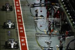 Marina Bay Circuit, Marina Bay, Singapore.Sunday 17 September 2017.Lance Stroll, Williams FW40 Mercedes, leads Felipe Massa, Williams FW40 Mercedes, through the pit lane.Photo: Andrew Hone/Williamsref: Digital Image _ONY0648