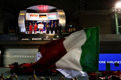 SINGAPORE, SINGAPORE - SEPTEMBER 22: A general view of the podium celebrations with race winner Sebastian Vettel of Germany and Ferrari, second placed Charles Leclerc of Monaco and Ferrari and third placed Max Verstappen of Netherlands and Red Bull Racing during the F1 Grand Prix of Singapore at Marina Bay Street Circuit on September 22, 2019 in Singapore. (Photo by Mark Thompson/Getty Images) // Getty Images / Red Bull Content Pool  // AP-21NAYNTKN2111 // Usage for editorial use only //