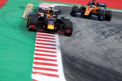 BARCELONA, SPAIN - MAY 10: Max Verstappen of the Netherlands driving the (33) Aston Martin Red Bull Racing RB15 leads Carlos Sainz of Spain driving the (55) McLaren F1 Team MCL34 Renault on track during practice for the F1 Grand Prix of Spain at Circuit de Barcelona-Catalunya on May 10, 2019 in Barcelona, Spain. (Photo by Charles Coates/Getty Images) // Getty Images / Red Bull Content Pool  // AP-1Z9WA7GK11W11 // Usage for editorial use only // Please go to www.redbullcontentpool.com for further information. //